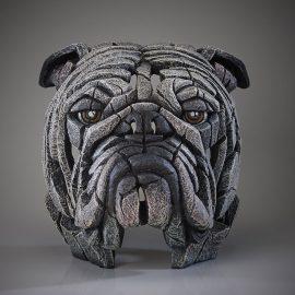 Bulldog Bust White by Edge Sculpture
