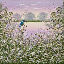 Kingfisher Perching VI Original by Mary Shaw