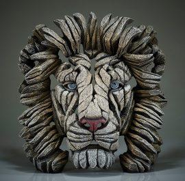 Lion Bust White by Edge Sculpture