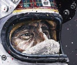 Sir Jackie Stewart - Hand Embellished Canvas by Paul Oz