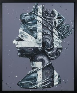 Monochrome - Queen of Jack - Hand Embellished Canvas Edition by Paul Oz